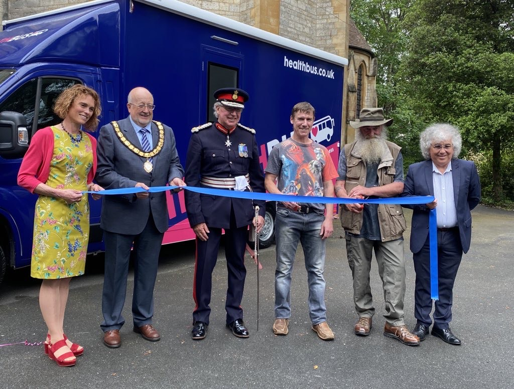 Cutting the ribbon at the new mobile clinic launch